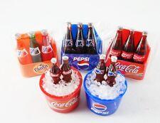 LOT OF 5 COKE PEPSI FANTA FRIDGE MAGNET MINIATURE COLLECTIBLE DOLLHOUSE GIFT