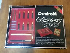 Vintage Osmiroid Calligraphy Desk Set: 2 Pens, 8 Nibs - 22 Carat Gold Plated