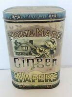 VINTAGE HOME MADE GINGER WAFERS TIN FAMOUS BISCUIT Co GOLD METAL DAHER ENGLAND