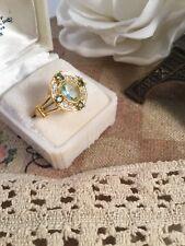 Art Deco Vintage Jewellery Gold Ring Aquamarine Peridot Antique Dress Jewelry