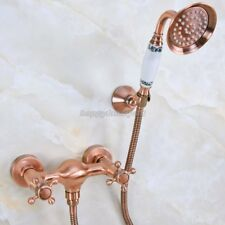 Antique Red Copper Wall Mounted Bathroom Hand Held Shower Faucet Set yna296