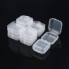 10Pcs Portable Clear Flip Jewelry Box Square Plastic Small Storage Boxes Case