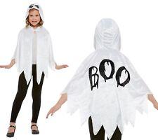Halloween Costume Fantôme Enfants Déguisement Garçon Fille à Capuche Blanc Cape