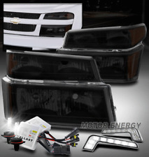 FOR 04-12 CHEVY COLORADO/GMC CANYON BLACK/SMOKE HEADLIGHT LAMP W/LED DRL+HID KIT