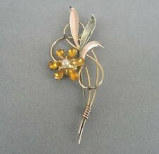 Amber Color Stones Faux Pearl Brooch Vintage Van Dell Gold Fill Sterling Silver