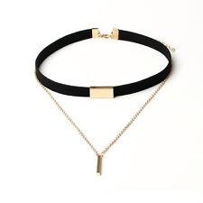 Fashion Women's Black Brown Velvet Choker Necklace Pendant Chain Golden Bar New