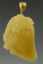Hand Carved FLOWER Genuine BALTIC AMBER Silver Gold Plated Pendant 22.6g s427-13