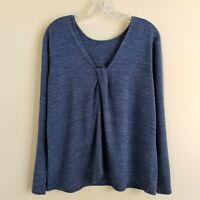 Pure Jill J Jill Soft Knit Drape Top Heather Blue Women's Large L NWOT