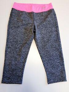 GG830 WOMENS NIKE GREY PINK STRETCH 3/4 LEGGINGS YOGA PANTS UK S 8 W26