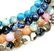 """Fire Agate Faceted Round Beads 15""""-15.5"""""""