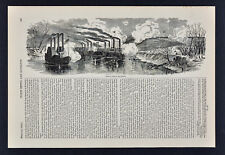 Harper Civil War Print - Gunboat Attack on Fort Donelson Tennessee River Battle