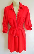 Dorothy Perkins Zip Front Belted Red Shirt Dress Tunic UK 10