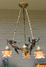 French 1970  putti angels 3 arms pink tulip shades chandelier lamp