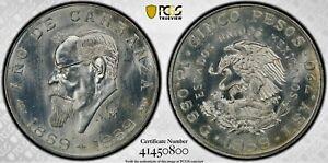 5 Pesos 1959 Mo Carranza's Birth Mexico ESTADOS UNIDOS MEXICANOS MS66 / PCGS !!