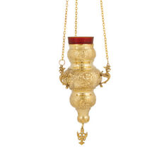 Russian Brass 3 Chain Hanging Vigil Lamp Christian Orthodox Church Kandili New!
