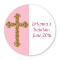 Gold Glitter Pink Cross - Round Personalized Baptism Christening Sticker Labels