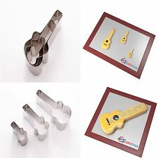 "Guitar Shape Steel Cookie Cake Fondant Cutter 1"" deep set of 3"