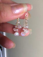 14K White Moonstone Onion Cluster Briolette Earrings Blue Flash Top Quality