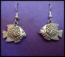 ANTIQUE TIBETAN SILVER 'FISH' EARRINGS