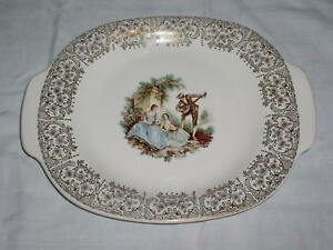 """American Limoges Triumph CHINA D'OR Pattern 14"""" Oval Serving Platter"""