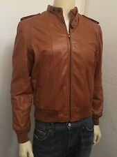 Vintage Brown Leather Motorcycle Racing Racer Jacket Hipster Men's Sz 44 M