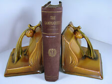 ROSEVILLE Art Pottery MINT and Gorgeous SET PINECONE Bookends 1-4 Tan Art-Deco