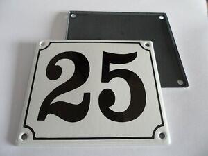 Old German White Enamel Porcelain Metal House Door Number Street Sign / Plate 25