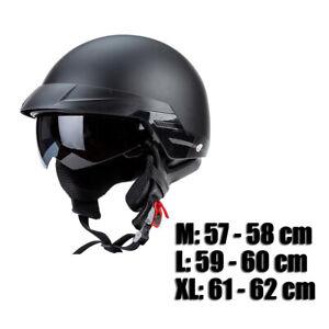 Motorcycle Half Helmet Retractable Visor Matte Black for Harley Durable