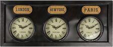 Large Vintage Antique Brown Metal 3 Time Zone Wall Clock London Paris New York