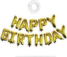 Happy Birthday Balloon Banner - Gold