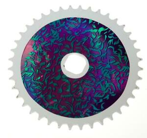 40T TEETH SPROCKET for ONE PIECE CRANK Bike/Bicycle WHITE & PURPLE (Square) NEW