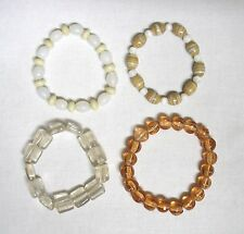 4 Glass Bead & Stretch Magic Bracelets in Mixed Types, Colours, Shapes & Size.