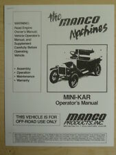Manco The Machines Mini-Kart Go Kart Assembly Operation Manual Cart