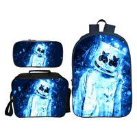 Marshmello School Bag Backpack Bookbag Lunchbag Totes Set Pen case DJ 3PCS Set