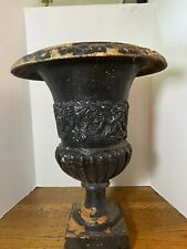 ANTIQUE French Cast Iron Medici Extra Large URN Planter~cHiPpY Black Patina!