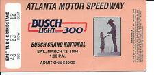 F-064 - Vintage NASCAR Ticket Stub, 1994 Busch Light 300 Atlanta Motor Speedway