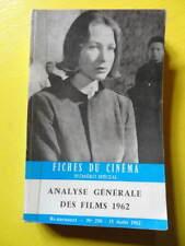 Fiches du Cinéma numéro spécial Analyse Générale des Films 1962