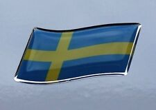 45mm WAVING SWEDEN FLAG Sticker/Decal - WITH A HIGH GLOSS DOMED GEL FINISH
