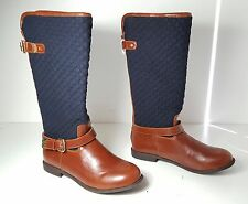 size 5 Tommy Hilfiger Andrea Cognac Equestrian Quilted Riding Boots Womens Shoes