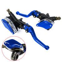 "Pair Blue 7/8"" Universal Motorbike Motorcycle Brake Clutch Master Cylinder Lever"