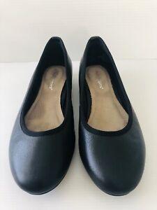 Hush Puppies Size AU 7 Tirra Black Leather Ballet Flats Shoes Classic Comfort