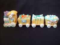 Vintage Easter Bunny Train Candle Holder Set of 4 Taper Candle Holder circa 1995