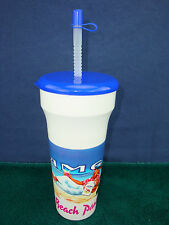 NOS Vintage 1991 JOE CAMEL Beach Party Plastic Cup with Lid & Straw. MINT / NEW