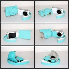 leather case bag for Samsung NX Mini camera with 9mm lens  blue for MINT GREEN