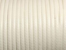 Bobine 45 mètres - Fil Cordon Coton Ciré 3mm Blanc