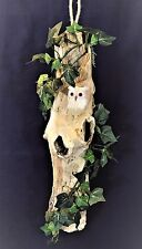 "HANGING DRIFTWOOD ART 16"" HOLLOW TREE OWL NEST IVY HOME ACCENT RUSTIC DECOR NEW"