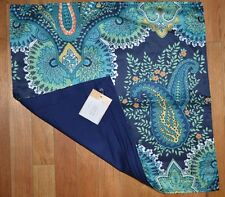 "Pottery Barn Linden Print Silk Pillow Cover Paisley Floral Blue 20"" #2"