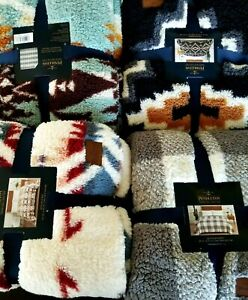 New Pendleton Sherpa Fleece Blanket Queen or King you choose Different colors