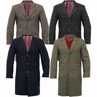 Mens Wool Mix Trench Coat Checked Long Jacket Herringbone Tweed Overcoat Lined