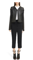 NEW  $2600 RICK OWENS V-Neck Leather Biker Jacket size 42